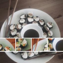 Raw Maki Sushi hecho con arroz de coliflor y mucho humor