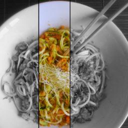 Espaguetis Raw de calabacín con aguacate, zanahoria y apio para prestar atención a los detalles